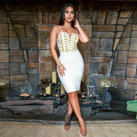 Fashion Button Embellished White Strappy Sleeveless Knee Length Bandage Dress Women Sweetheart Evening Party Sexy Vestidos Gown