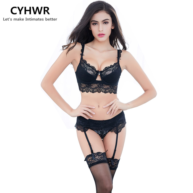 CHYWR lace thin cotton cup breast 5 row buckle   bra   side collection sexy   Bra     set     bra  +panty+garter belt +stocking 4pieces/lots