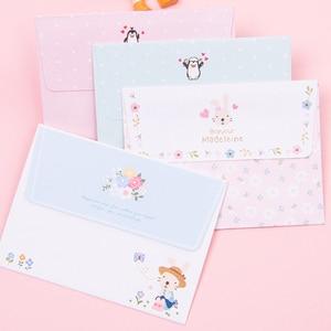 Image 2 - 30Packs/Lot Leuke Konijn Pinguïn Bloem 2 Envelop + 4 Papieren Brief Mini Brief Pad Schrijven Papier Kantoor & School Leveranties