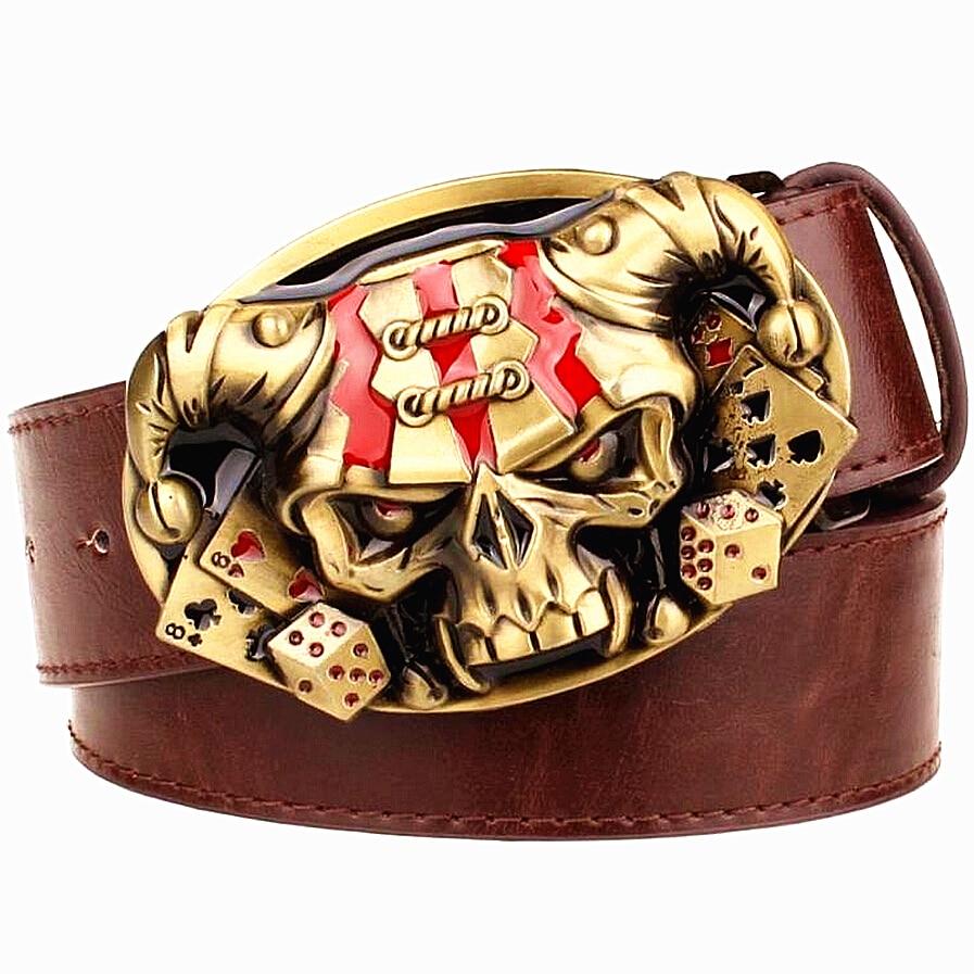 Cinturón de cuero de los hombres salvajes Tarjeta de Joker Poker hebillas de metal cinturones de demonio payaso cráneo estilo exagerado cinturón hip hop