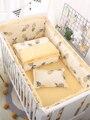 Детская кроватка для новорожденных, комплект из 5 предметов, Комплект постельного белья из 100% хлопка, 5 шт., детские кроватки, включая листовы...