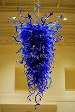 Free Shipping Pure Blue Modern Hand Blown Art Glass Chandelier  цена