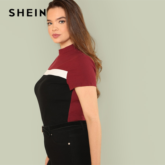 SHEIN Multicolor Plus Size Color Block Rib Knit Fitted Stand Collar Stretchy Tee 2019 Summer Women Short Sleeve Casual T Shirts 1