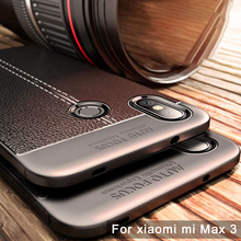 Case For Xiaomi Mi Max 3 Cover Soft Shockproof Anti-Knock Leather Grained TPU Protective Back Cover Case for Mi Max 3 Mi Max3