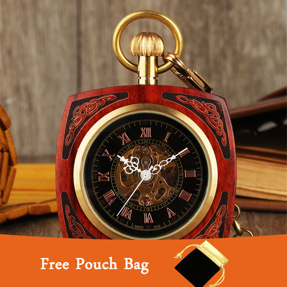 Square Engraved Real Wood Mechanical Pocket Watch Hand Winding Golden Punk Chain Vintage Pendant Clock With Black Pouch Bag