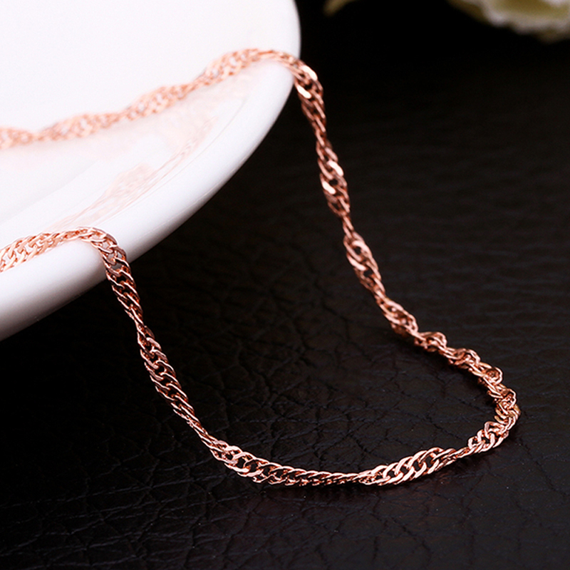 20pcs/lot 1.5mm Wide Gold / Rose Gold / Silver color Water-Wave Chains Necklaces For Women Chain Female Necklace,women jewelry