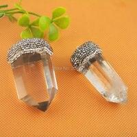 Fashion 4Pcs Rhinestone Druzy Quartz Stone Crystal Pillar Charms Pendants Jewelry Gift