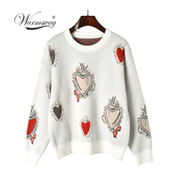 Vintage Runway Designer Brand Knitted Sweater Autumn Winter Pullover Gem Heart Jacquard Knitwear Korean Fashion Jumper C 337