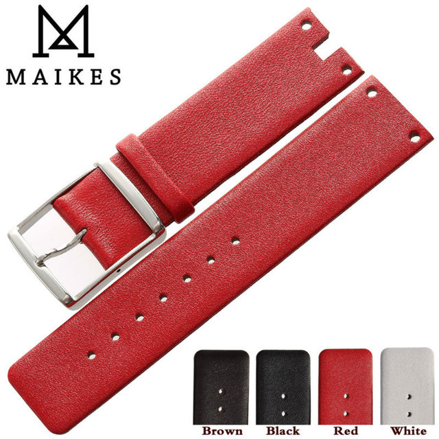 MAIKES Hot Sales Watchband Stainless Steel Buckle Red Thin Genuine Leather Watch Strap Band Bracelet For CK Calvin Klein K94231