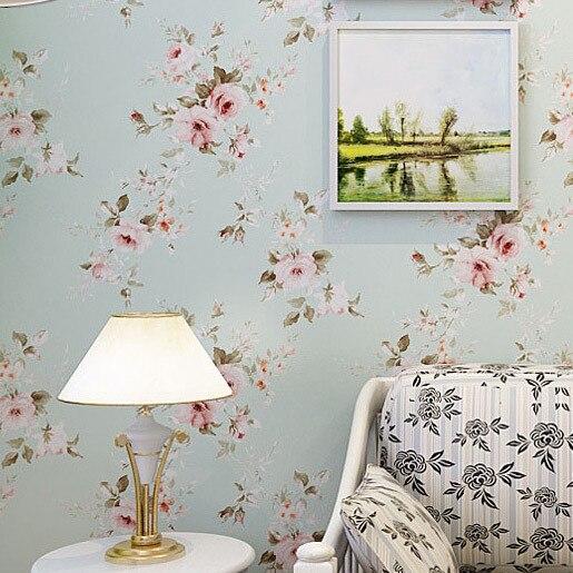 Freies Verschiffen Tapete Schlafzimmer Wand Blau Grün Amerikanischen  Rustikale Blume PVC Papel De Parede Blumen Roll