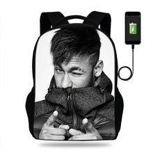 Multifunction USB charging backpack Kids Boys Children School Bag teenagers Men travel Laptop Bags Football Star Neymar backpack
