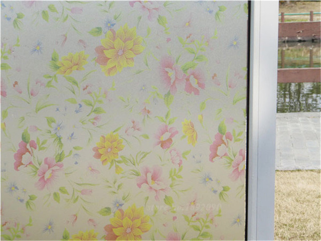 45x100cm Recyclable Frosted Gl Window Film Flower Sticker Decorative Stained Static Cling
