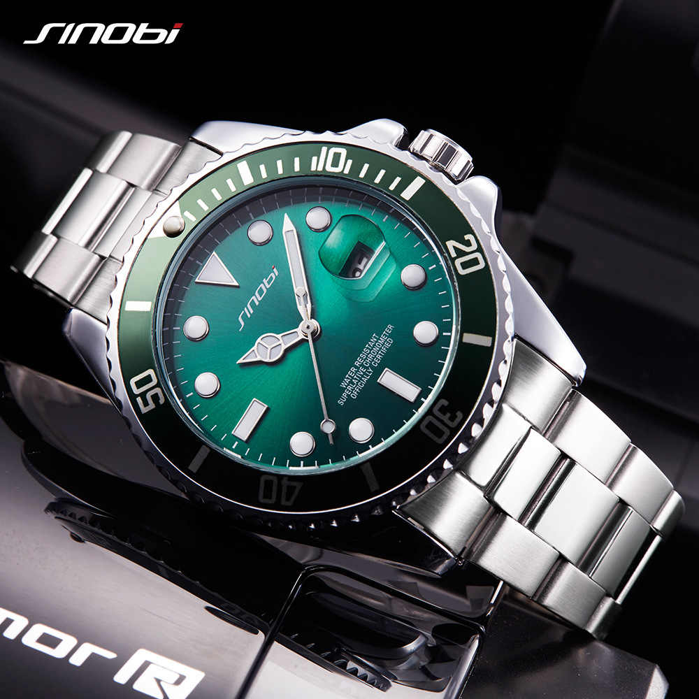 Mens שעונים למעלה מותג יוקרה SINOBI צבאי ספורט קוורץ שעון ירוק Rotatable מאן לוח עמיד למים נירוסטה Relogio