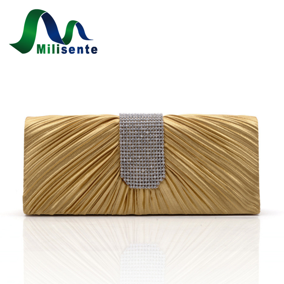 Milisente Women Stain Evening Bag Wedding Party Purse Crystal Rhinestone Chain Clutches Small Handbag Gold Black Pink Red Silver