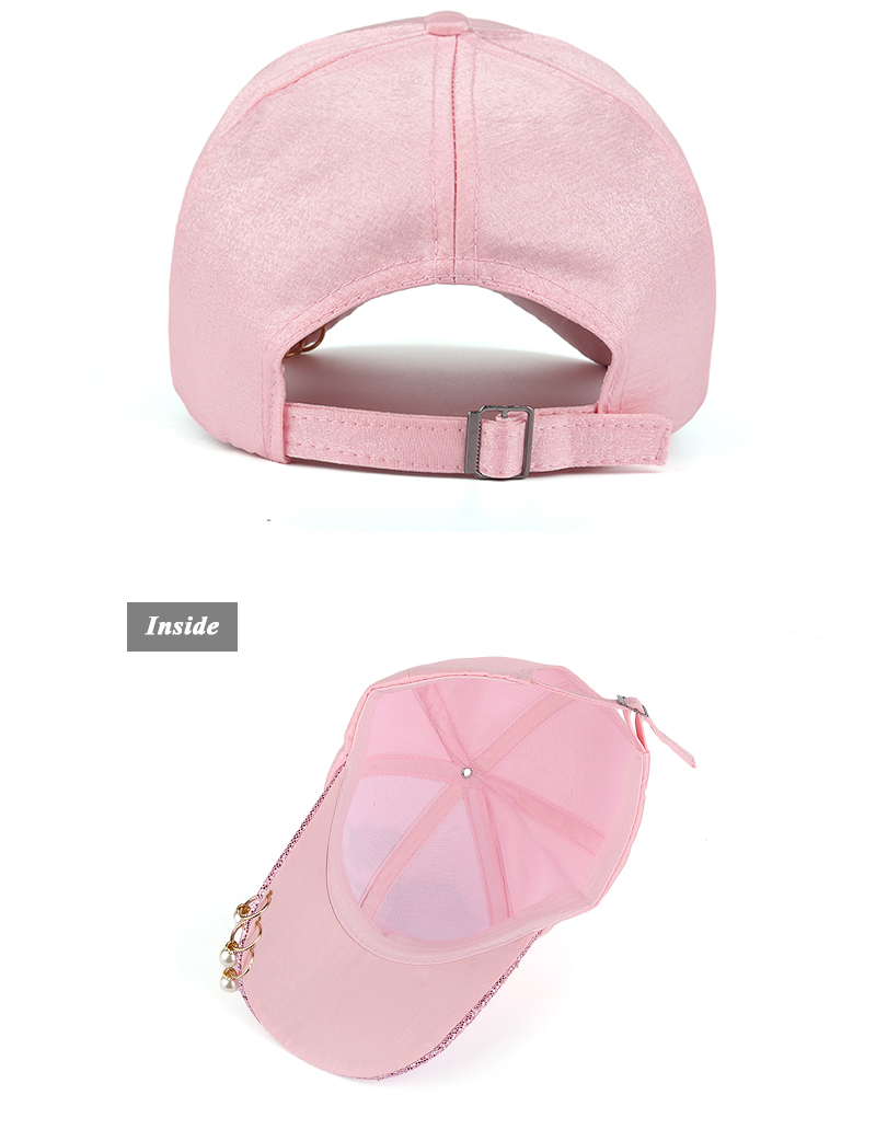 Embroidered Rose Baseball Cap - Rear and Inside Views