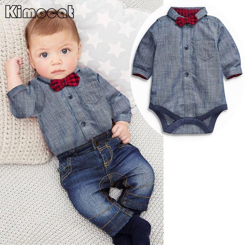 Gratis verzending baby bebes jongens kleding set romper + broek - Babykleding - Foto 4