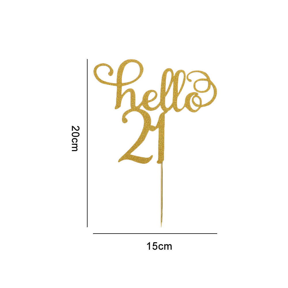 gold glitter hello 21//30//40//50//60 birthday cake topper party decor suppliesha
