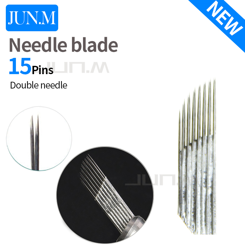 50Pcs 15Pins 2 rows Permanent Makeup <font><b>Eyebrow</b></font> <font><b>Tatoo</b></font> Blade Microblading Needles For 3D Embroidery Manual Tattoo <font><b>Pen</b></font> image