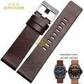 Натуральная кожа браслет часы ремешок для часов 22 24 26 28 30 мм наручные часы полосы для DZ7313 | DZ7322 | DZ7257 ремень коричневого цвета