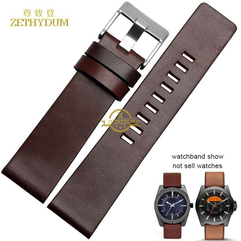 Genuine Leather Bracelet Watch Strap Watchband 22 24 26 28 30mm Wristwatch Band For Diesel DZ7313|DZ7322|DZ7257 Belt Brown Color