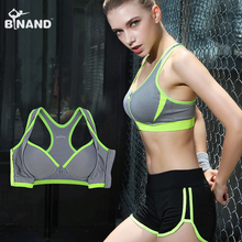 Binand Sexy Double Layer High Impact Push Up Sports Fitness Bra For Yoga Running Front Zipper