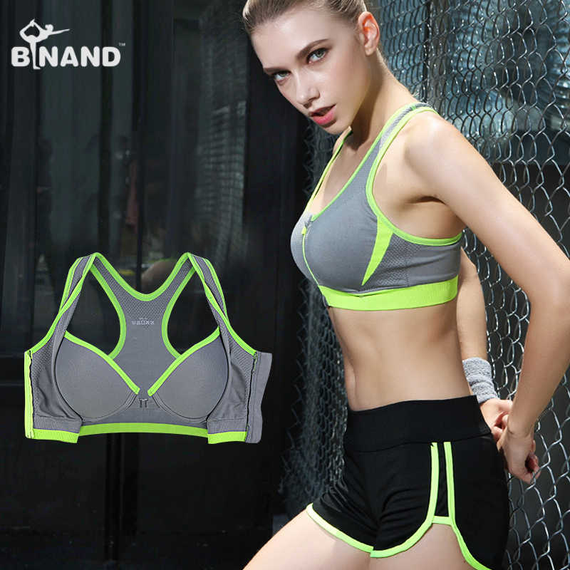 f9c5f3f29e ... Binand Sexy Double Layer High-Impact Push Up Sports Fitness Bra For  Yoga Running Front ...