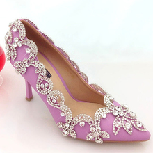 Glamorous Popular Purple Wedding Shoes Bridal Party High Heels with Rhinestone Pointed Toe Three Inch Party Prom Heels