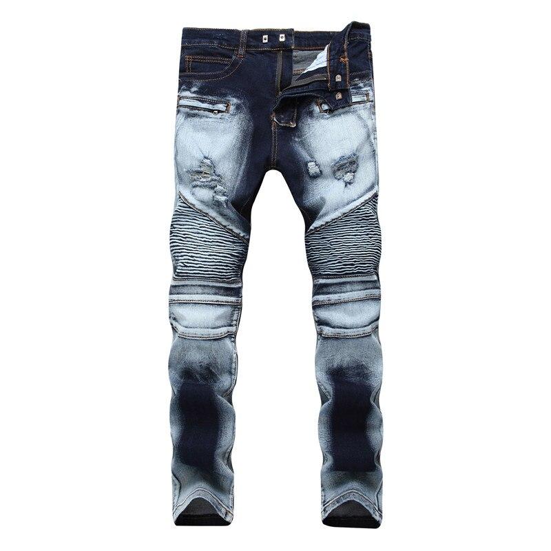 Ripped Biker Jeans For Men Size 42 Skinny Jeans Elastic Denim Biker Jeans Masculino 2018 Stretch ...
