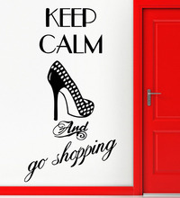 Wall Stickers Vinyl Decal Fashion Quote For Girls Keep Calm Go Shopping Art Mural Bedroom