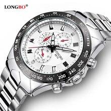 Longbo Hombres de Acero Inoxidable Banda Militar Deportes Relojes de Cuarzo Dial Reloj De Los Hombres Macho Ocio Reloj Relogio masculino 8814