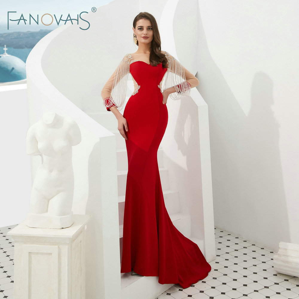 Red   Evening     Dresses   Long Sleeves with Tassels Mermaid Prom   Dress   Long 2019 Vestido De Fiesta Elegant Formal   Dresses   Women
