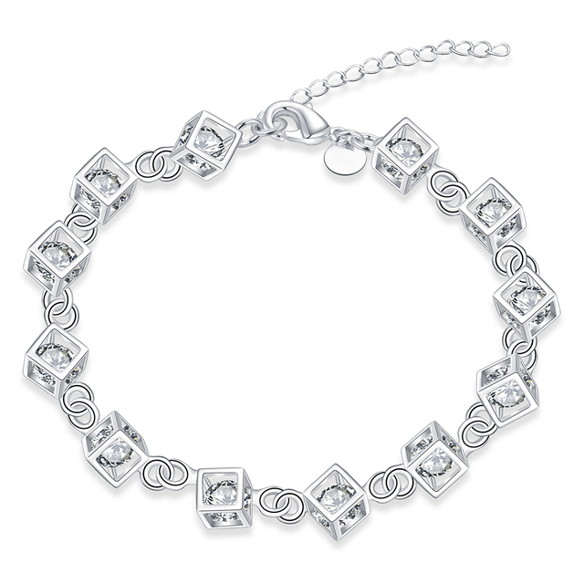 8cfa18492c5e Rejilla Simple piedra blanca plateada pulseras para mujer pulsera de cadena  brazaletes boda cadena joyería de