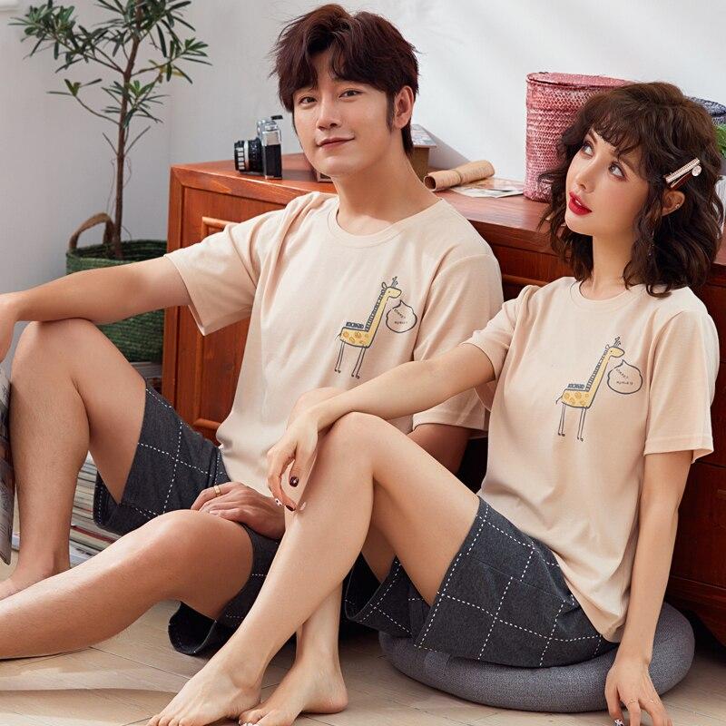Young Lovers Pajamas Women Short Sleeved Summer Pyjama Loose Men Thin Style Couple Pijama Set Sleepwear Top + Shorts Girl Pajama-in Pajama Sets from Underwear & Sleepwears
