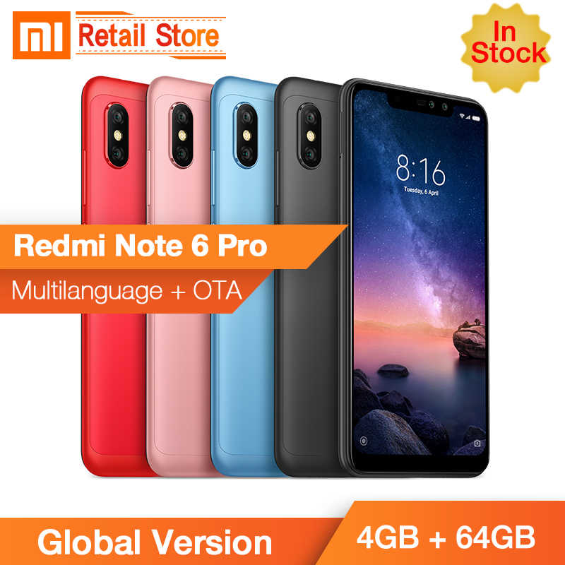 "В наличии Глобальный Версия Xiaomi Redmi Note 6 Pro 4 GB 64 GB Snapdragon 636 Octa Core 6,26 ""Full экран телефона двойной AI Cam идентификаторе FCC"