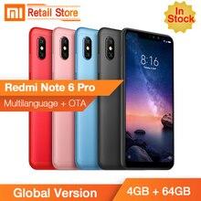 Stokta Küresel Sürüm Xiaomi Redmi Not 6 Pro 4 GB 64 GB Snapdragon 636 Octa Çekirdek 6.26