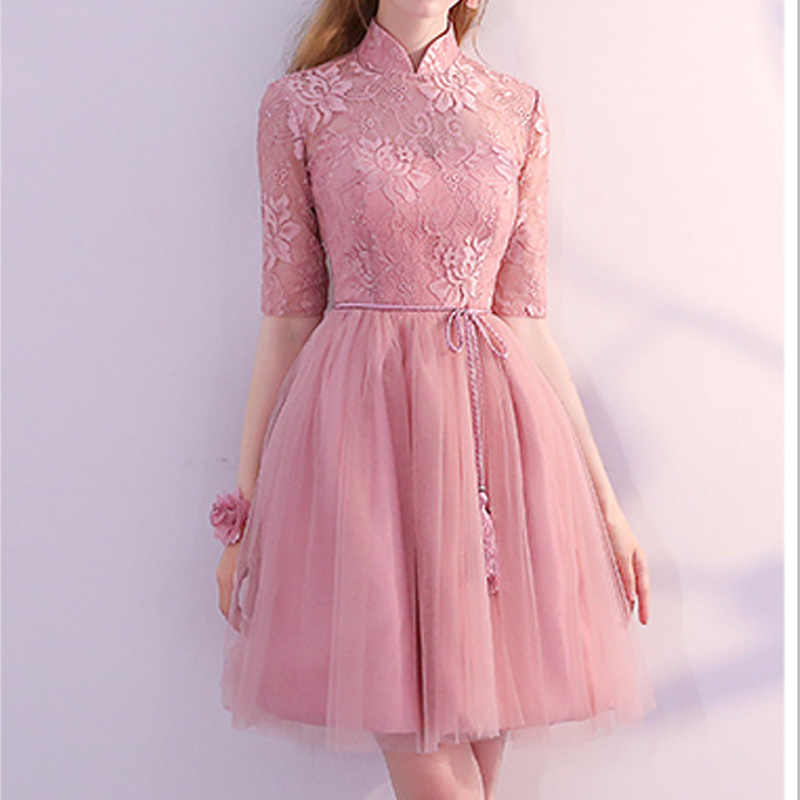 8307a907a08 Woman Short Dress for Wedding Knee Length Formal Ball Gown Pink Bridesmaid Party  Dresses Half Sleeve