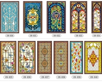 Custom Size European style window fim electrostatic stained glass window film frosted church home doors foil stickers 50cmx150cm