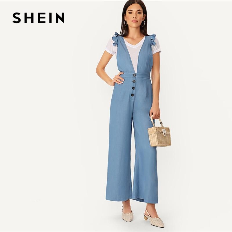 SHEIN Blue Ruffle Trim Crisscross Back Buttoned Wide Leg   Jumpsuit   Casual 2019 Spring Deep V Neck Streetwear Women   Jumpsuits