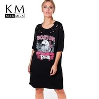 Kissmilk Plus Size Women Animal Print O Neck Mini Dress Mid Sleeve Solid Black Dress Hollow