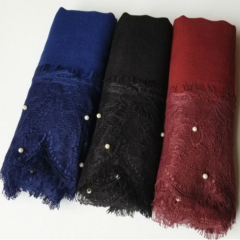 Women scarves hijabs luxury 2 sides lace edges pearls plain solid shawl viscose Muslim beads scarf