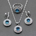 Round  Natural Blue&White Created Topaz 925 Silver Jewelry Sets Earrings/Pendant/Necklace/Ring For Women Free Jewelry Box TZ105