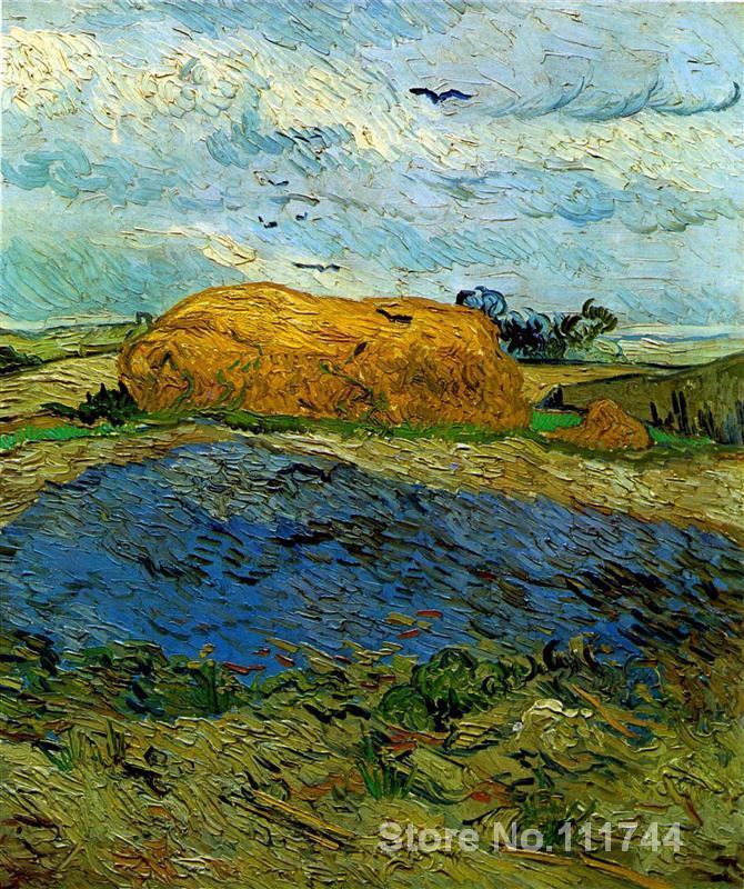 US $83.46 22% di SCONTO|Famosa arte per la camera da letto Pagliaio sotto  un Cielo Piovoso Vincent Van Gogh dipinti dipinto A Mano di Alta qualità-in  ...