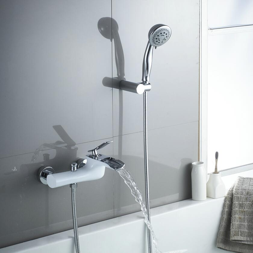 Brass Bath & Shower Faucets White & Chrome Wall Mounted Waterfall ...