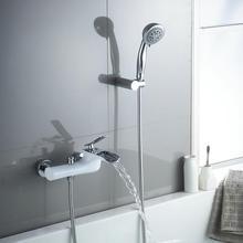 Brass Bath U0026 Shower Faucets White U0026 Chrome Wall Mounted Waterfall Faucet  Crane Bath Shower Tap