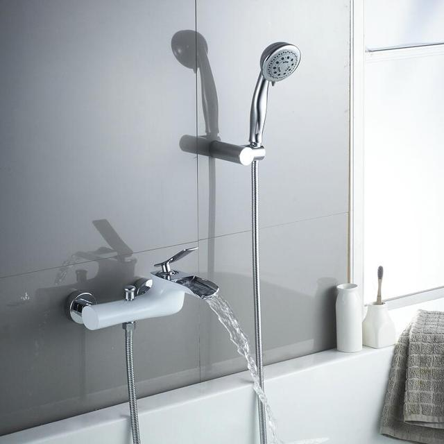 brass bath shower faucets white chrome wall mounted waterfall faucet crane bath shower tap - Bathroom Shower Faucets