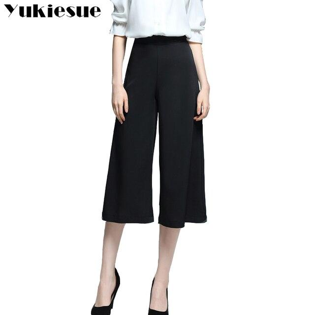 37ff735524f42 Wide leg pants women 2018 spring summer high waist loose calf length pants  capris female trousers OL office business women pants