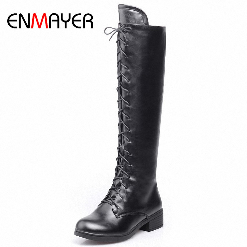 ENMAYER New Fashion Lace Up Autumn Knight Boots for Women Shoes Winter Women Motorcycle Boots Round
