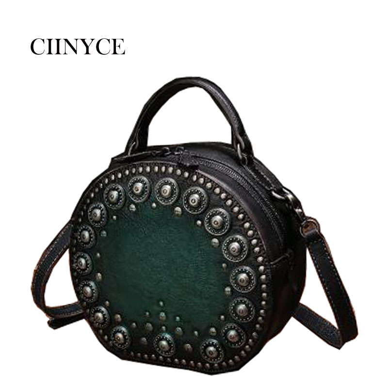 New Arrival Original Design Women's Genuine Cow Leather Small Handbags Vintage Rivets Circular Totes Retro Cross body bags шапка lakmiss шапка