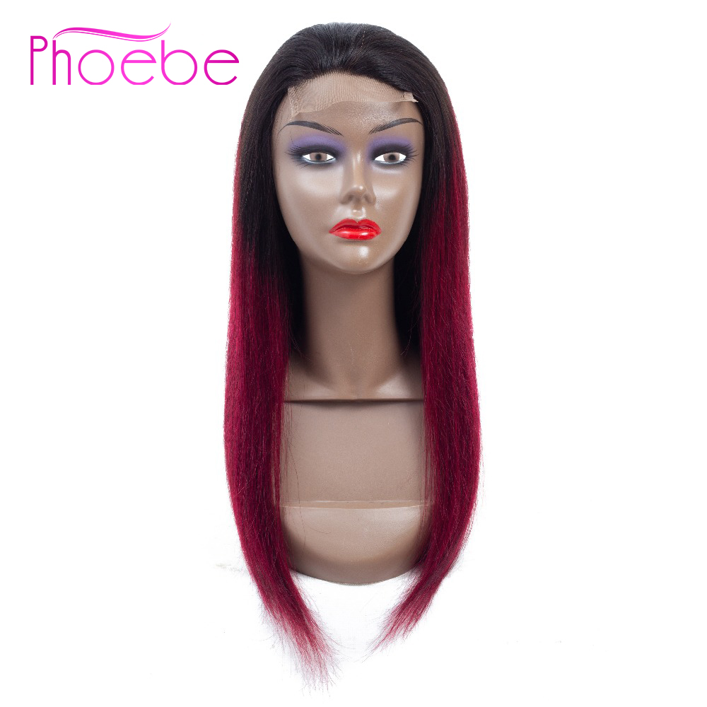 Phoebe Hair 4x4 Lace Closure Brazilian Wigs Straight 100 Human Hair Wigs 1B 99J For Black