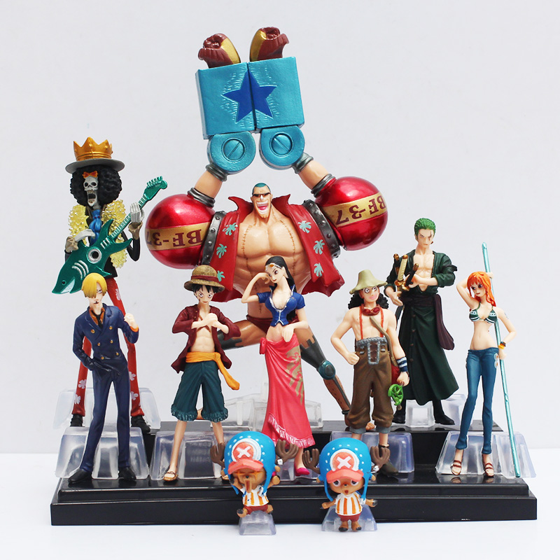 10pcs/lot One Piece Figure Straw Hats Luffy/Roronoa/Zoro/Sanji/Chopper PVC Action Figure Toy